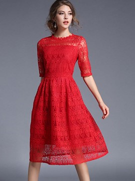 Ericdress Ladylike See-Through Patchwork Half Sleeve Lace Dress