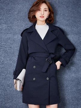 Ericdress Soliod Color Slim Double-Breasted Trench Coat