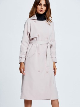 Ericdress Double-Breasted Lace-Up Trench Coat