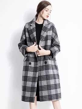 Ericdress Loose Two-Button Plaid Coat
