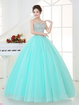 Ericdress Sweetheart Ball Gown Beaded Sequins Floor-Length Quinceanera Dress