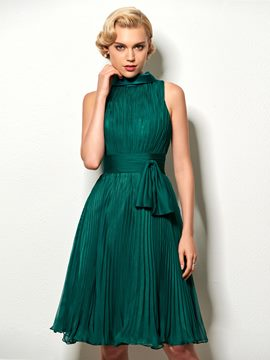 Ericdress Vintage Scoop Neck Pleats Short A Line Cocktail Dress