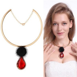 Ericdress Water Drop Gemstone Pendant Alloy Necklace