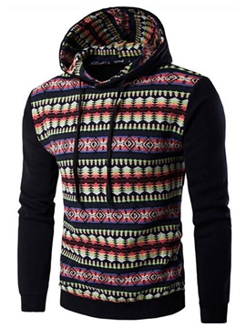 Ericdress Pullover Color Block Patchwork Vintage Pattern Casual Men's Hoodie