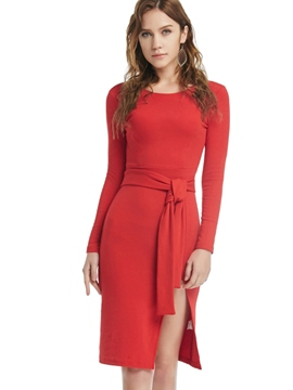 Ericdress Belt Split Solid Color Bodycon Dress