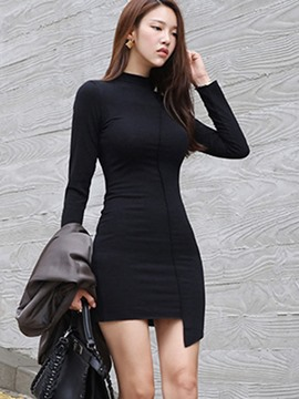 Ericdress Cowl-Neck Stylelines Asymmetric Plain Bodycon Dress