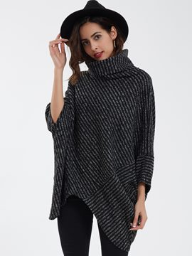 Ericdress Casual Loose Pullover Turtleneck Striped Knitwear
