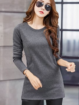Ericdress Slim Round Neck Solid Color Hoodie