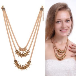 Ericdress Exaggerated Gold Beaded Alloy Necklace
