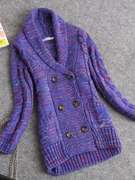 Ericdress Double-Breasted Purple Pullover Knitwear
