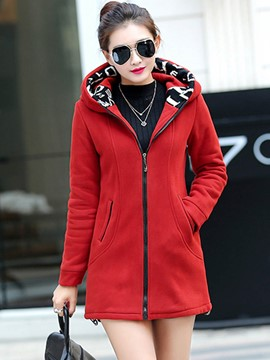 Ericdress Slim Solid Color Casual Hoodie