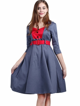 Ericdress Color Block Button Patchwork Belt Pleated Casual Dress