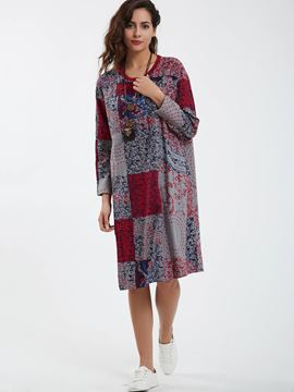 Ericdress Round Neck Geometric Pattern Loose Casual Dress