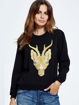 Ericdress Casual Loose Round Neck Animal Printed Hoodie