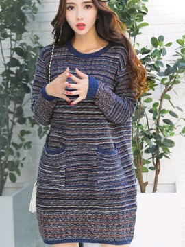 Ericdress Strip Colorful Pocket Loose Sweater Dress