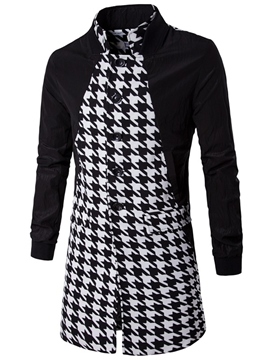 Ericdress Houndstooth Color Block Patchwork Mid-Length Men's Trench Coat