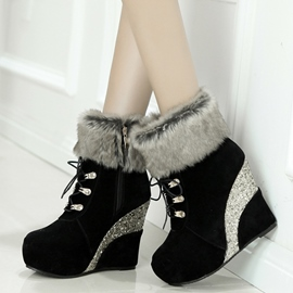 Ericdress Sequins Patchwork Wedge Heel Ankle Boots