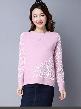 Ericdress Embroidery Simple Womens Pullover Knitwear