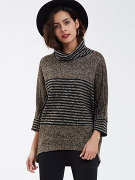 Ericdress Casual Pullover Turtleneck Striped Knitwear