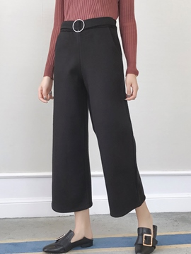 Ericdress Solid Color Thick Wide Legs Pants