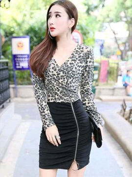 Ericdress Leopard Cross V-Neck Zipper Bodycon Dress