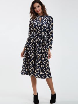 Ericdress Sweet Round Neck Hollow Flower Printed Maxi Dress