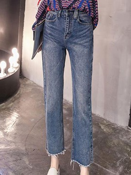 Ericdress Worn High-Waist Loose Jeans