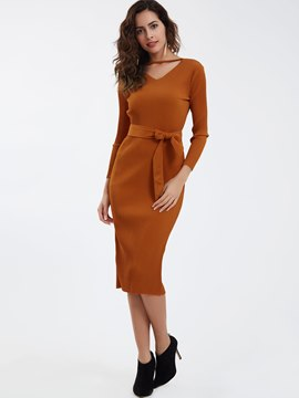 Ericdress Casual V-Neck Plain Bodycon Dress