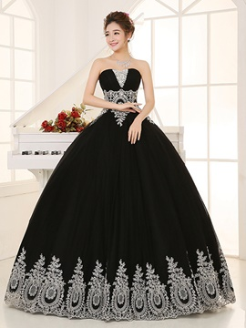 Ericdress Vintage Ball Gown Appliques Beading Crystal Sequins Quinceanera Dress