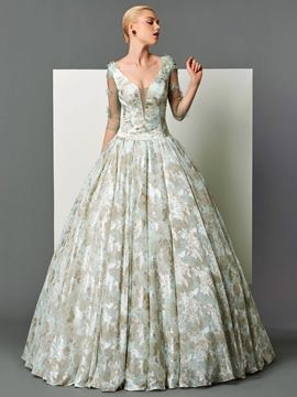 Ericdress Graceful Long Sleeve Print Ball Gown Evening Dress