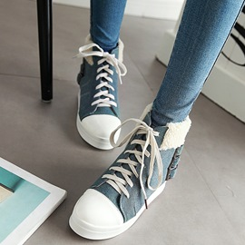 Ericdress Chic Denim Patchwork Ankle Boots
