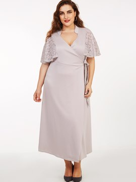 Ericdress Plus-Size Stand Collar Lace Ruffle Sleeve Lace-U Maxi Dress