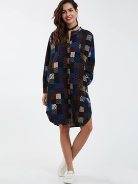 Ericdress Stand Collar Single-Breasted Plaid Casual Dress