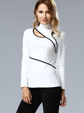 Ericdress Turtle Neck Hollow T-Shirt