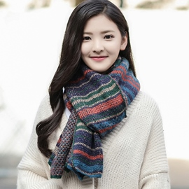 Ericdress Double Sided Stripe Knitted Scarf
