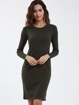 Ericdress Casual Round Neck Backless Sweater Dress