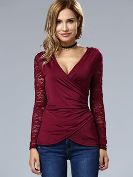 Ericdress Wrap Front Lace Sleeve Down T-Shirt