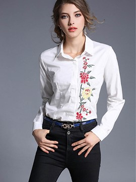 Ericdress Floral Embroidery White Blouse