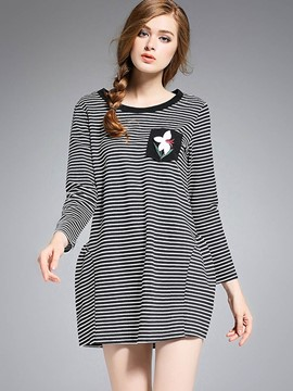 Ericdress Fine Stripe Floral Embroidery T-Shirt