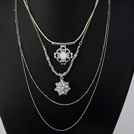 Ericdress Multilayer Alloy Flower Pendant Necklace