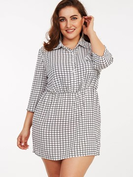 Ericdress Plus-Size Lapel Plaid Single-Breasted Belt-Tied Casual Dress