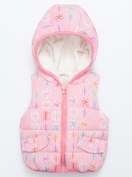 Ericdress Hooded Print Cotton-padded Girls Vest