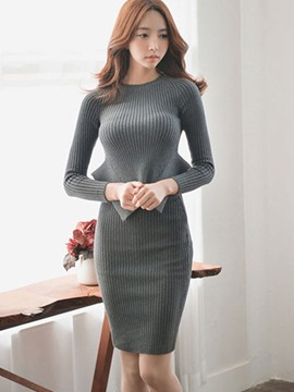 Ericdress Solid Color Falbala Stripe Sweater Bodycon Suit