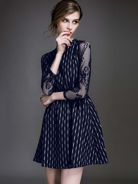 Ericdress Lace Patchwork Stand Collar Strip Print Casual Dress