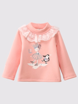 Ericdress Print Lace Turtleneck Long Sleeve Baby Girls T-Shirt