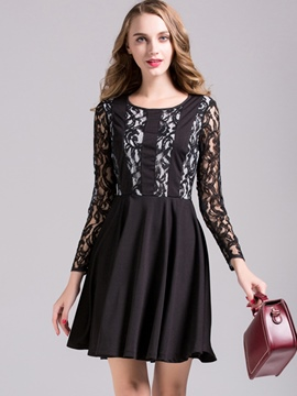 Ericdress Lace Hollow Patchwork Pleated Above Knee Casual Dress