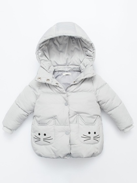 Ericdress Cute Cat Print Hooded Girls Coat