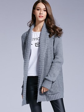 Ericdress Gray Cardigan Womens Knitwear
