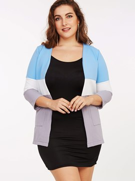 Ericdress Casual Color Block Plus Size Jacket