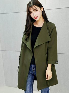 Ericdress Solid Color Lace-Up Loose Trench Coat
